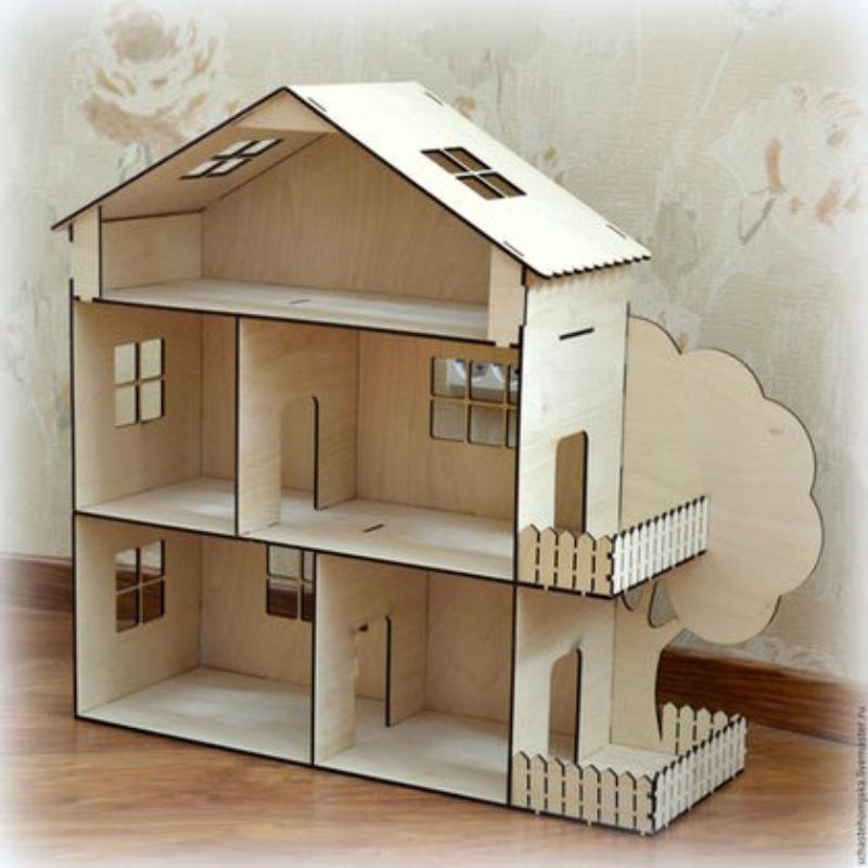 Dollhouse Kit Laser Cut Template 4Mm Free Vector