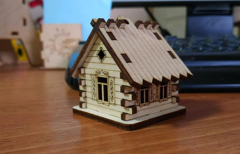 Laser Cut House Hut CNC Template Free Vector