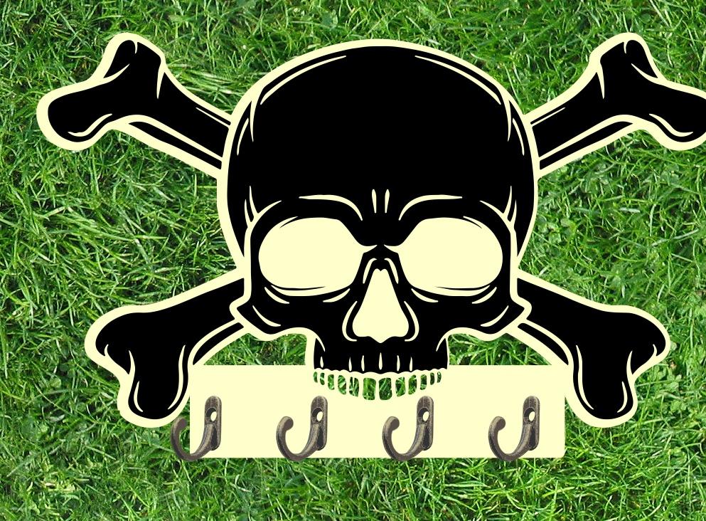 Laser Cut Key Holder Crossed Skull Bones Free Vector