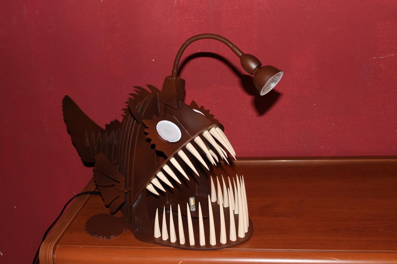 Laser Cut Angler Fish Lamp Free Vector