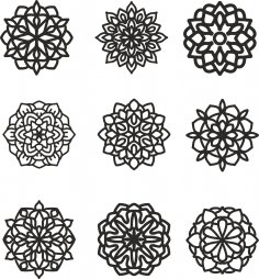 Mandala 9 Set Free Vector