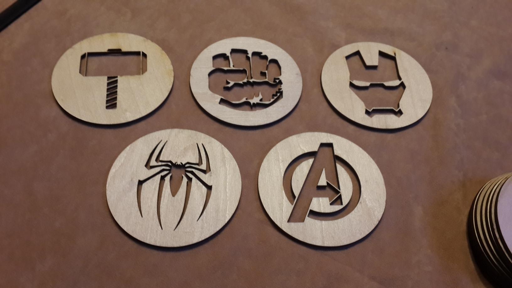 Laser Cut Avengers Coasters Free Vector