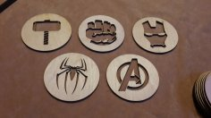 Laser Cut Avengers Coasters Free Vector