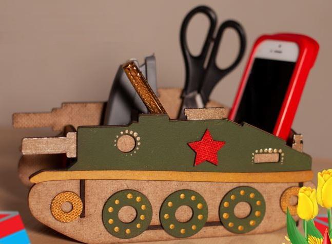 Laser Cut Wood Tank Shape Desk Organizer Free Vector