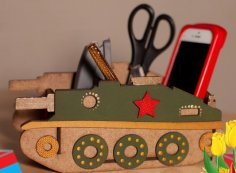Laser Cut Wood Tank Shape Desk Organizer Free Vector