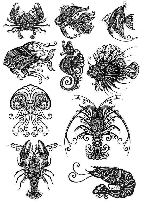 Ornament Sea Amimals Vectors Set Free Vector