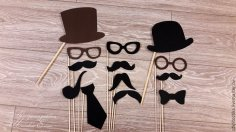 Laser Cut Wooden Mustache Hat Glasses On Stick Free Vector