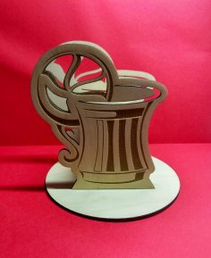 Laser Cut Cup Shape Pen Card Holder Desk Organizer Free Vector