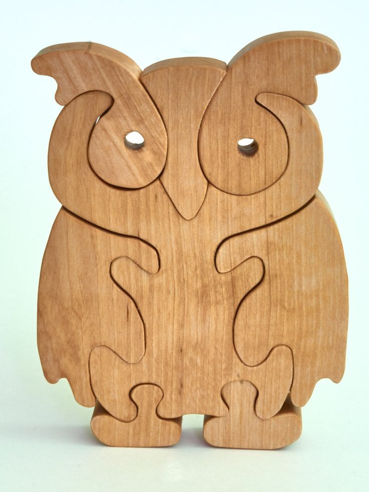 Owl Stand up Wooden Jigsaw Puzzle CNC Laser Cut DWG File