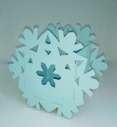 Laser Cut Snowflake Pen Holder Organizer Free Vector