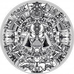 Laser Engraving Star Wars Aztec Calendar Free Vector