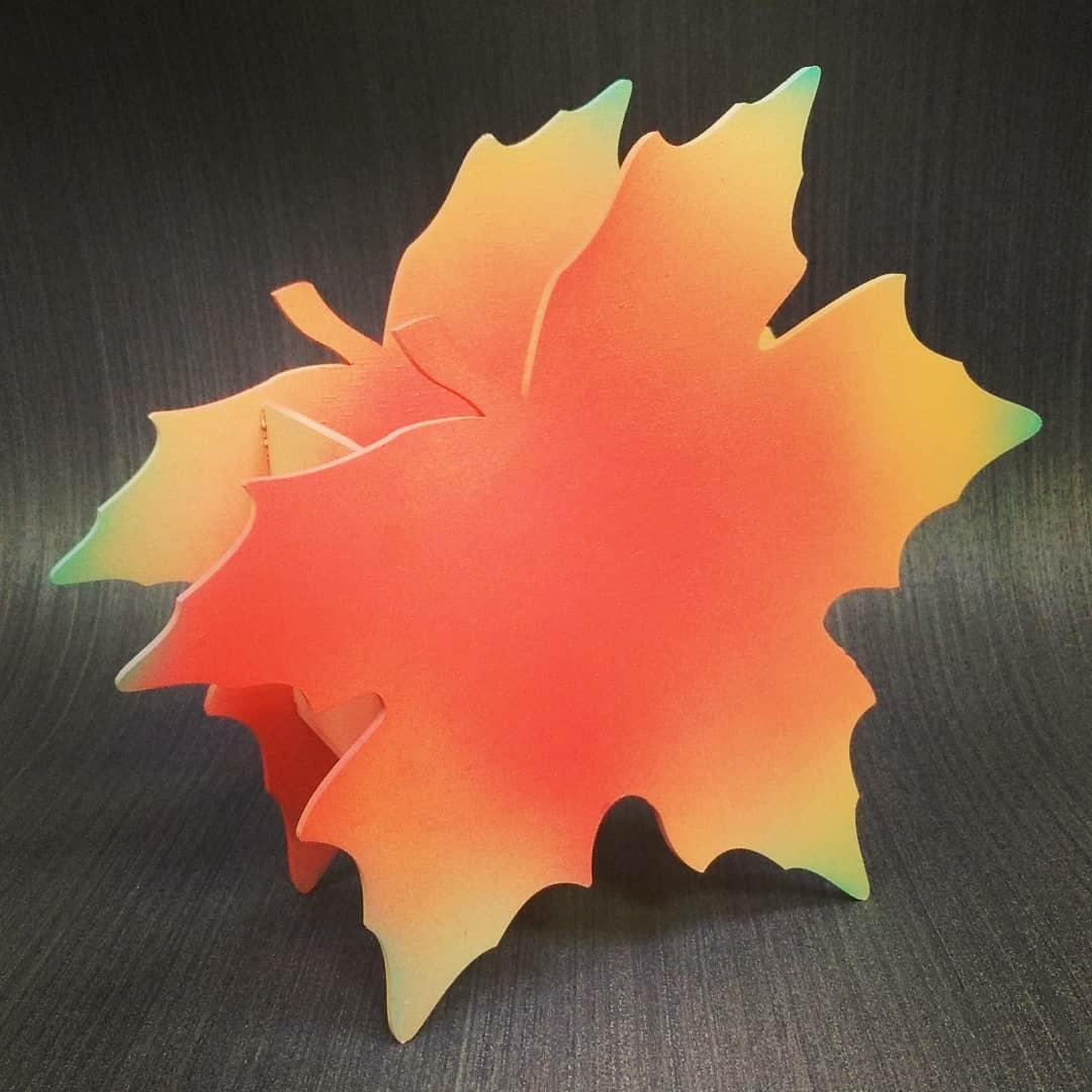 Laser Cut Maple Leaf Shape Box Planter Pen Holder Free Vector