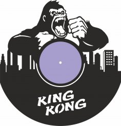 Laser Cut King Kong Vinyl Record Wall Clock Free Vector