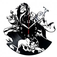 Lion King Vinyl Record Wall Clock Kids Room Clock Laser Cut Template Free Vector