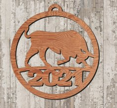 Laser Cut Year Of Bull 2021 Wooden Pendant Free Vector