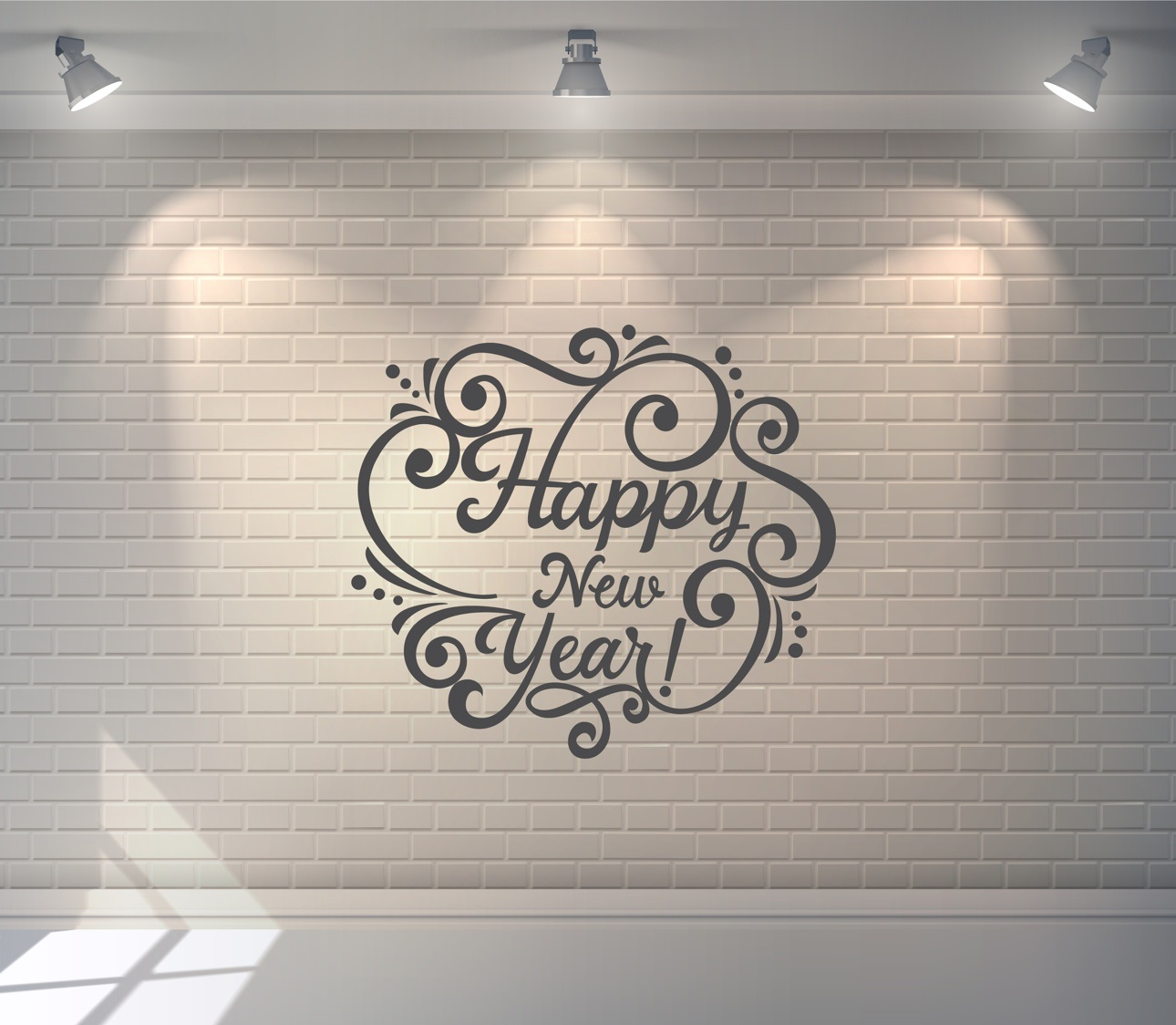 Laser Cut Happy New Year Lettering Free Vector