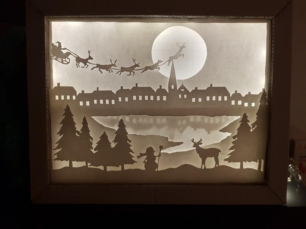 Laser Cut Christmas Shadow Box Night Light Paper Cut Free Vector
