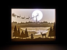 Laser Cut Christmas Shadow Box Night Light Paper Cut Free Vector