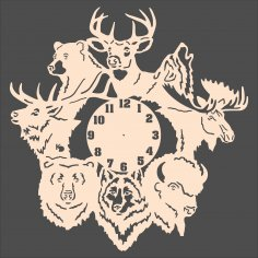 Laser Cut Forest Animals Wall Clock Free Vector