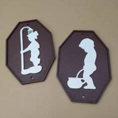 Laser Cut Funny Bathroom Signs Free Vector