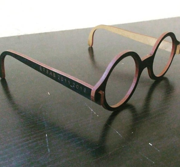 Laser Cut Wooden Le Corbusier Eyeglasses Free Vector