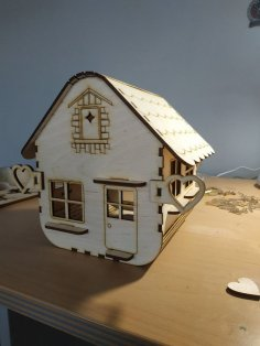 Laser Cut House Shaped Lamp Free Vector