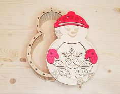 Laser Cut Snowman Candy Box Christmas Gift Box Free Vector