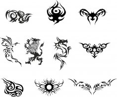 Silhouette Dragon Tattoo Vector Set Free Vector