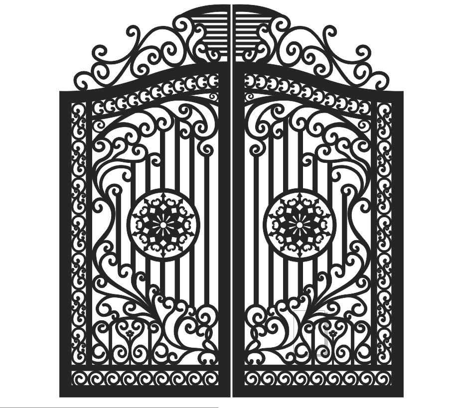 Plasma Cut Gate Design Free Vector