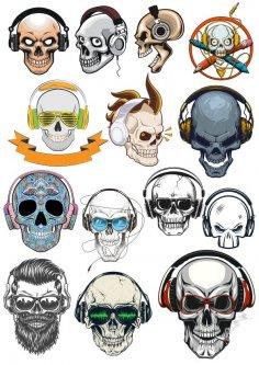 Skull with Headphones Free Vector