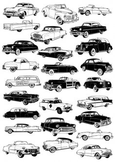 Retro cars vector set Free Vector