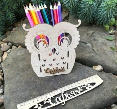 Owl Desk Organizer Pencil Holder DXF File