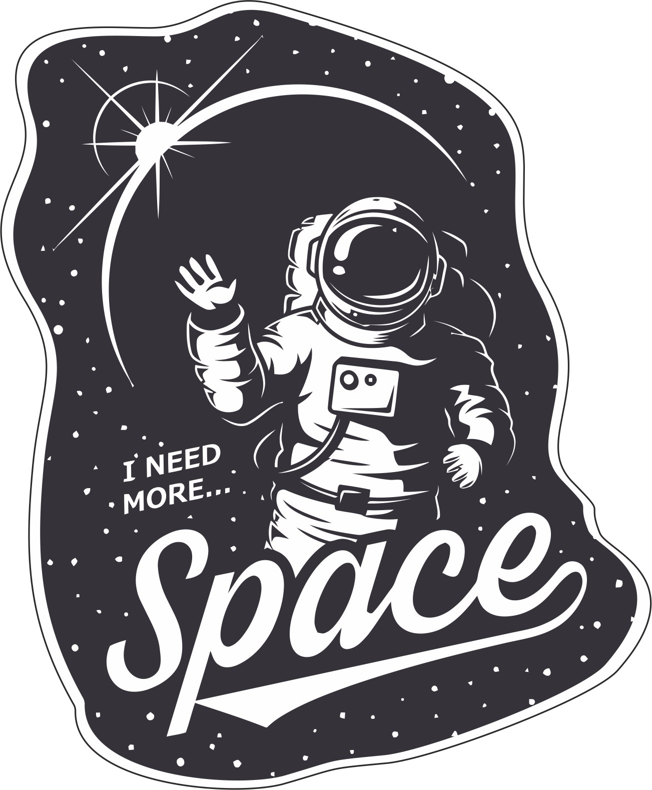 I Need More Space Sticker Vector Art Free Vector