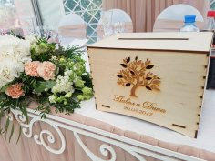 Wooden Wedding Boxes With Slot on Top Money Card Storage Free Vector