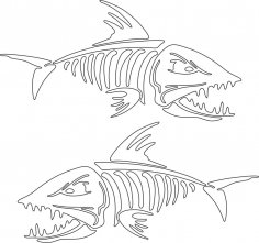 Fish Skeleton Vector Art Free Vector