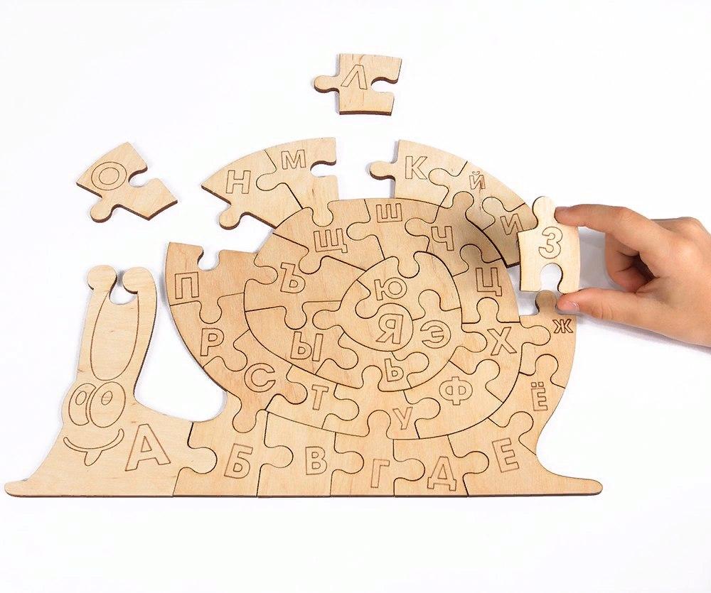 Snail Alphabet Jigsaw Puzzle Template vector