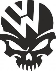 VW Volkswagen Logo Skull Vector CDR File