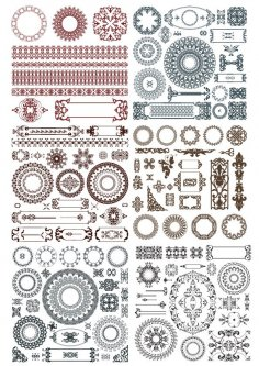 Doodles border decor elements Free Vector