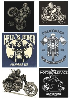 Retro Biker Set Free Vector