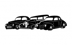 Three Old Cars dxf File
