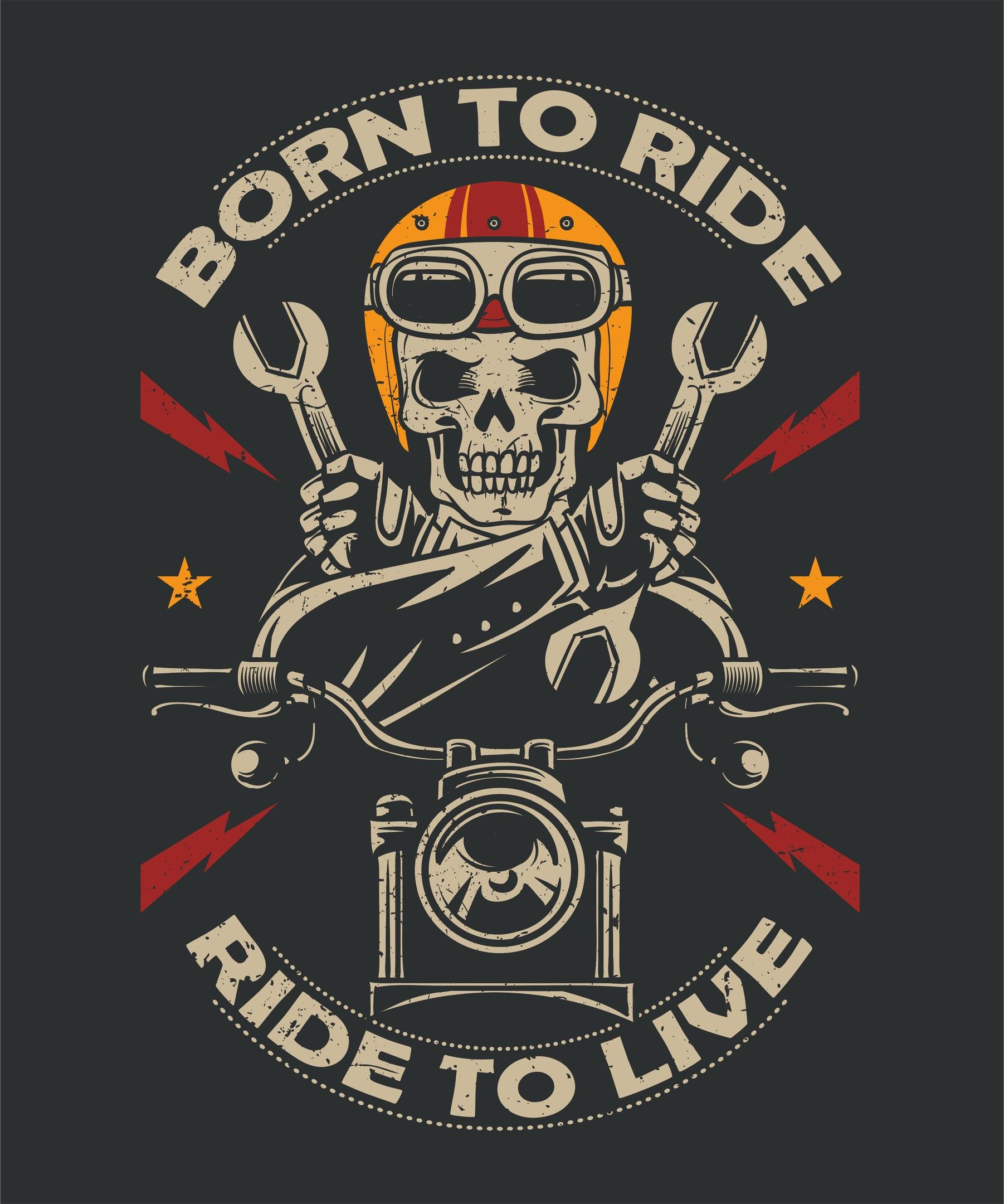 Born To Ride Moto Print Free Vector