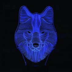 Wolf 3D LED Night Light Free Vector
