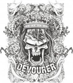 Devourer T-Shirt Print Free Vector