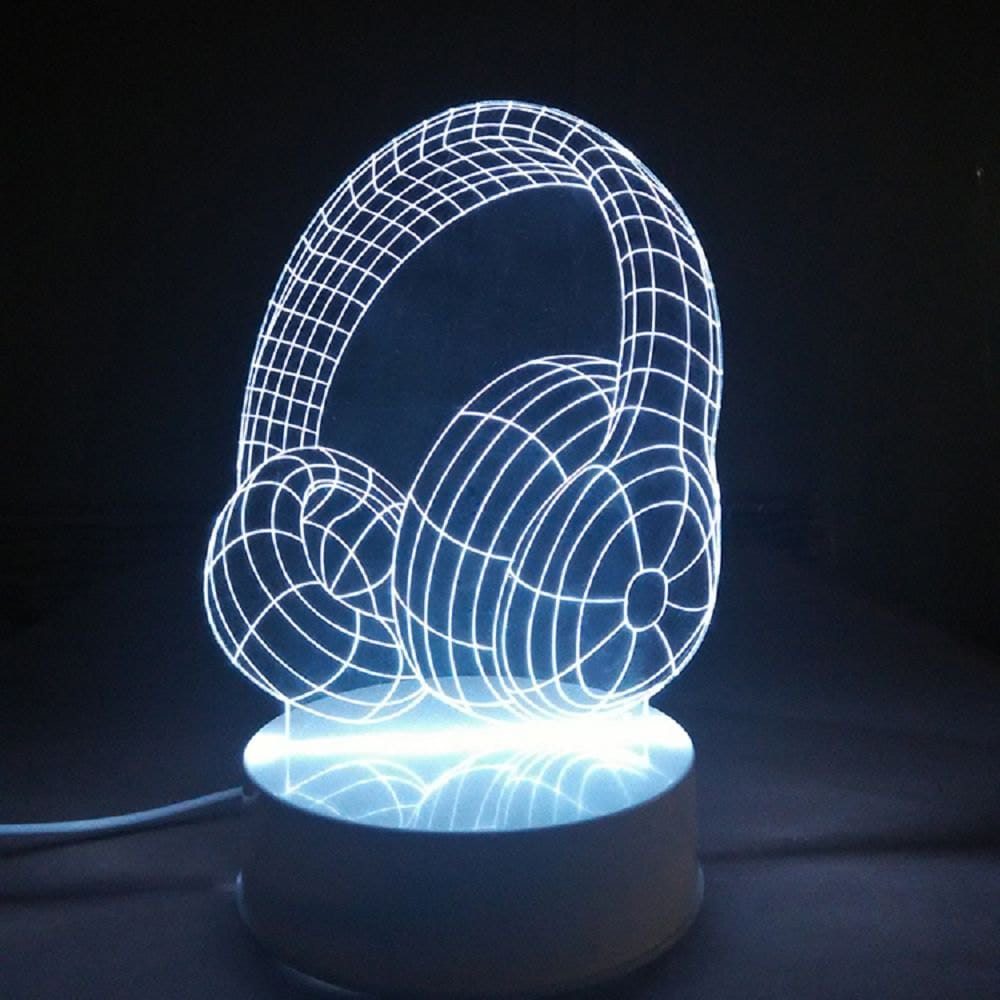 Headphones 3D LED Night Light Free Vector