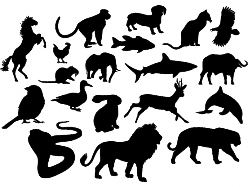 Animal Silhouettes dxf File