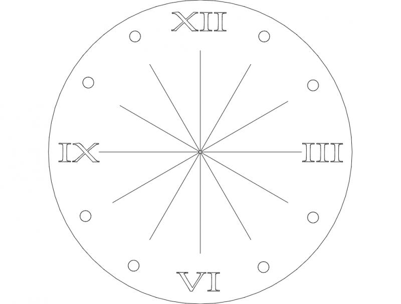 Clock Rom Num dxf File