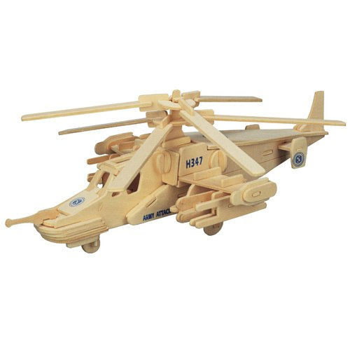 3D Wooden Helicopter Assembly Puzzle Free Vector