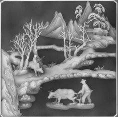 Landscape painting grayscale BMP File
