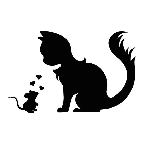 Cute wall tattoo mouse and cat in love silhouette dxf File