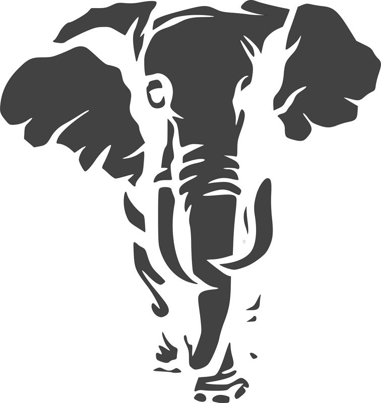 Jungle Animal Elephant Stencil dxf File